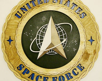 """Custom 12"""" Wood United States Space Force Wall Tribute - FREE SHIPPING"""