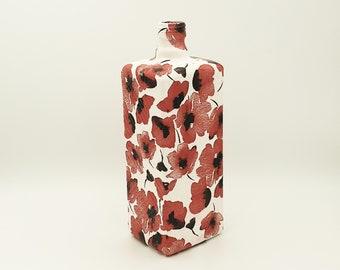 Red poppy decoupage bottle, Upcycled glass bottles, Poppy gifts