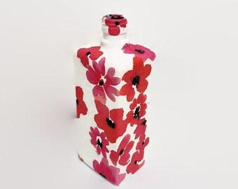 Poppy decoupage bottle