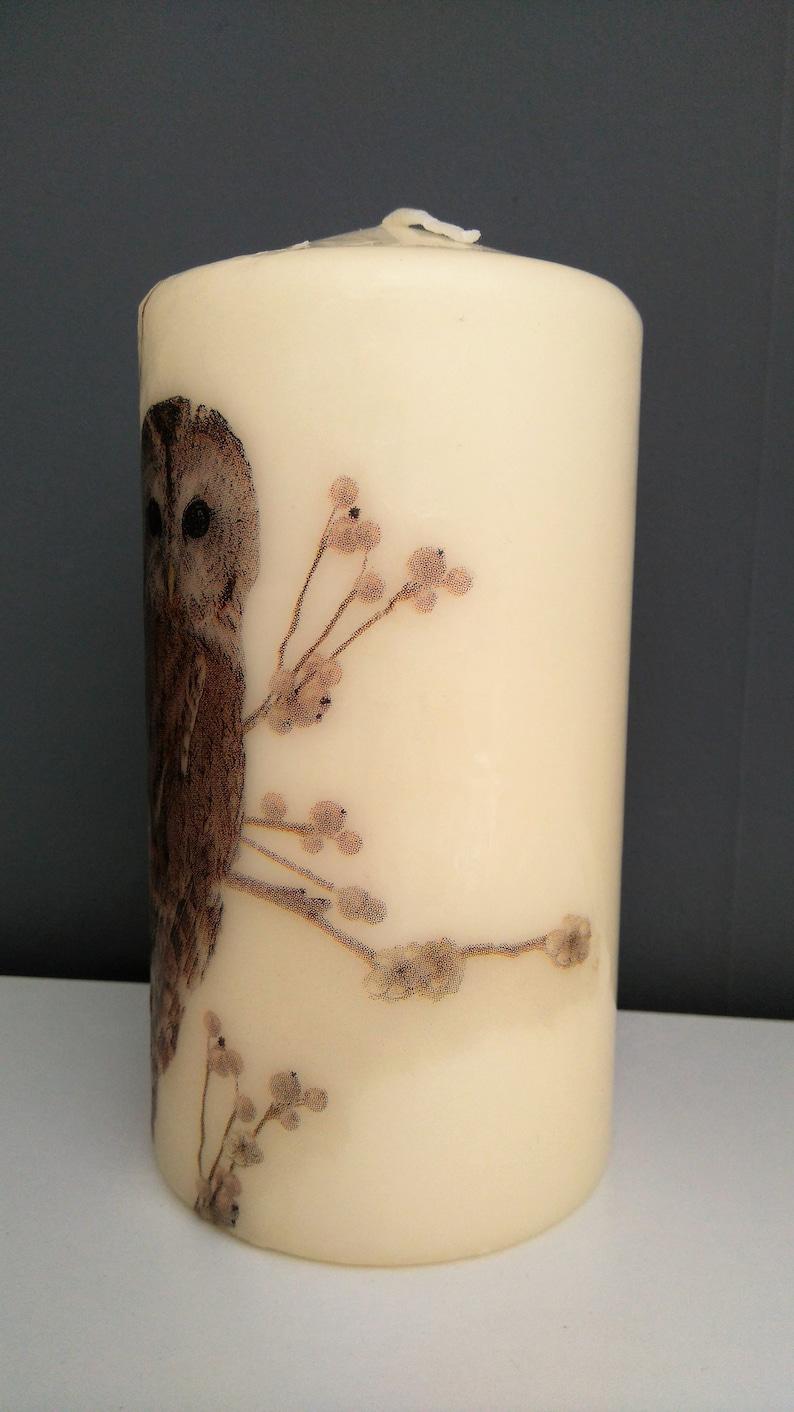 decorative tawny owl pillar candle