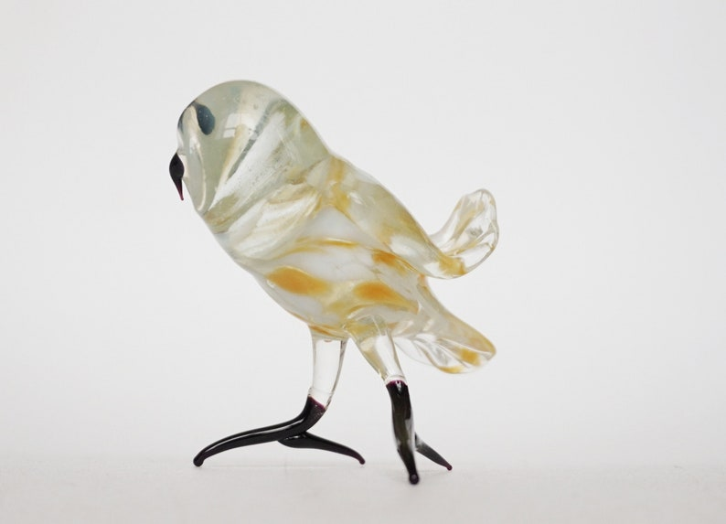 owl glass figurine minimalist art glass miniature hand blown glass glass animals glass art owl figurine glass figurine owl charm