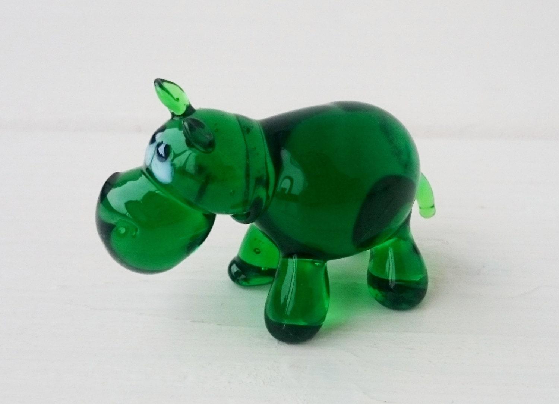 Handmade Blown Glass Figurine Art  Blown Glass Sculpture Made Of Glass Art Glass Hippo Animals Glass