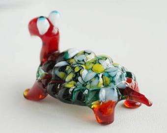 turtle figurine, hand blown glass, minimalist art, fused glass art, sea glass art, glass figurine, glass sculpture,  safari nursery decor