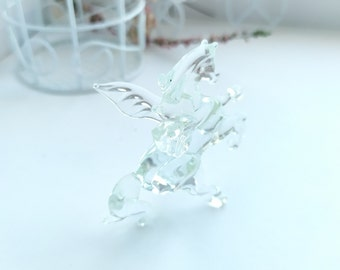 glass miniature pegas, horse lovers, horse sculpture, glass figurine, horse toy, horse figurine, blown glass animals, collectible figurine