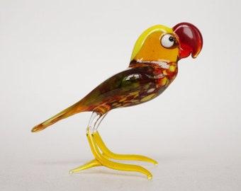 bird figurine, glass figurine, depression glass, glass animals, desk accessories, safari nursery decor, glass sculpture, glass art