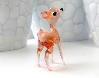 deer glass figurine, blown glass, glass sculpture, glass animal, desk accessories for women, collectible figurine, glass miniature