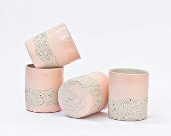Pink ceramic cups Set of 2. Handmade beakers.