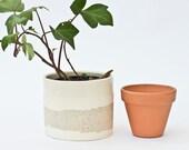 White ceramic planter pot small.