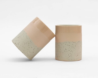 Ceramic Tumbler handmade. Modern cup pink and speckled.