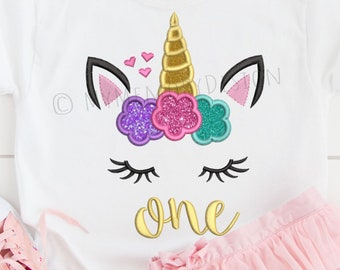 Unicorn Embroidery Design, Birthday embroidery, Unicorn applique, Machine embroidery, 1st birthday embroidery, Baby girl embroidery, 3 sizes