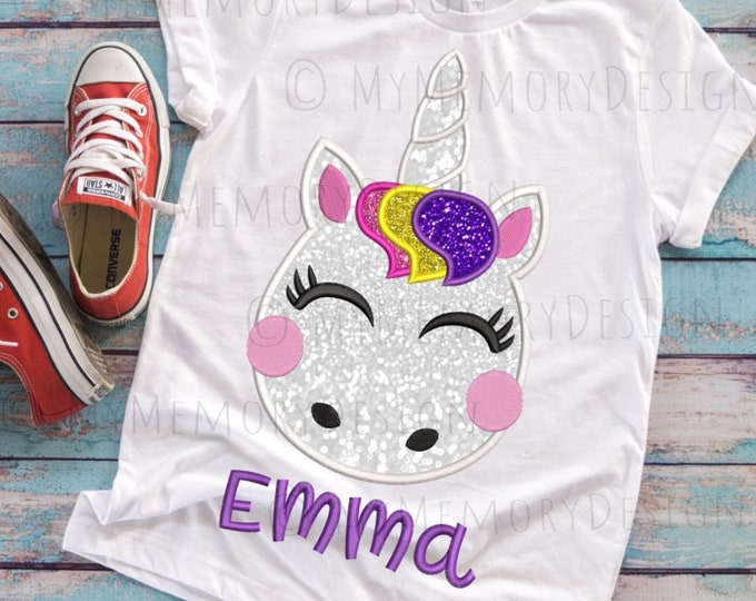 Featured listing image: Unicorn embroidery design, Embroidery design, Machine embroidery, Unicorn design, Unicorn applique,  Girl embroidery, Baby embroidery design