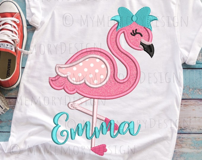 Featured listing image: Flamingo embroidery design, Girl embroidery, Summer design , Animal embroidery, Flamingo applique, Machine embroidery design, 4x4 5x7 6x10