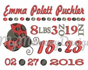 Ladybug New Baby Birth  Announcement TEMPLATE Machine Embroidery Design - Digital file - Instant Download  4x4 5x7 6x10 sizes