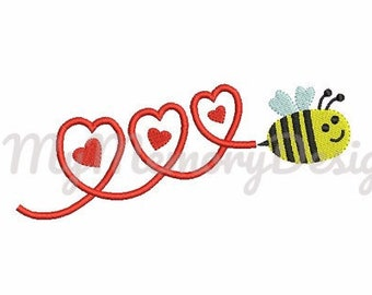 Bee embroidery design, Baby embroidery design, Cute animal embroidery, Baby animal embroidery, Heart embroidery- INSTANT DOWNLOAD - 3 size