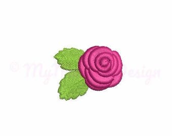 Flower embroidery design - Rose embroidery - Mini design - Machine embroidery file - Instant download - pes hus jef vip vp3 xxx dst exp
