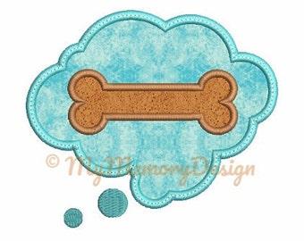 Bone Embroidery Design - Bone Applique Design - Cloud applique design - Animal embroidery - Machine embroidery - INSTANT DOWNLOAD-3 size