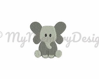 Baby elephant embroidery design - Mini Baby embroidery - Animal embroidery -  Machine Embroidery design - Instant download - 4 size