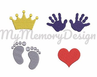 Baby  boy girl mini fill stitch embroidery design set - SET of 4 - Baby embroidery design - Machine embroidery - INSTANT DOWNLOAD