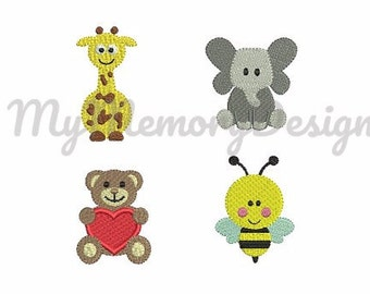 Baby Animal Set Embroidery Design - Elephant Bee Giraffe Bear filled stitch embroidery for newborn - Machine embroidery INSTANT DOWNLOAD