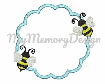 Bee Frame Embroidery Design - Monogram Frame Embroidery Design for Machine Embroidery - Baby embroidery - Instant download 4x4 5x7 6x10