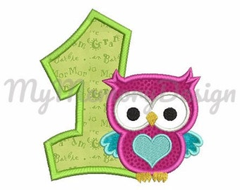 1st birthday embroidery design - My first birthday embroidery - Owl embroidery - Machine embroidery  INSTANT DOWNLOAD 4x4 5x7 6x10 size