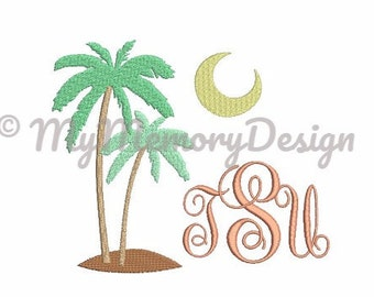 Palm embroidery design - Fill stitch embroidery design - Embroidery monogram frame design - Summer embroidery design - 4x4 5x7 6x10 size