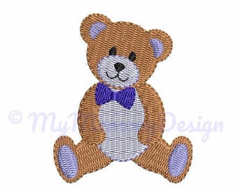 Boy Bear Embroidery Design - Mini Filled Stitched Embroidery -  Baby Embroidery - Machine embroidery INSTANT DOWNLOAD pattern - 5 SIZE