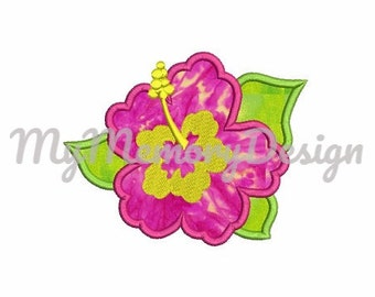 Summer Flower Applique - Girl summer Applique - Hawaii flower embroidery - Hibiscus applique - Machine embroidery - INSTANT DOWNLOAD -3 SIZE