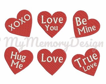 Filled stitch hearts Valentin's Day Embroidery Design - Machine embroidery Instant download Digital File - 3 size - NOT SEPARATE HEARTS