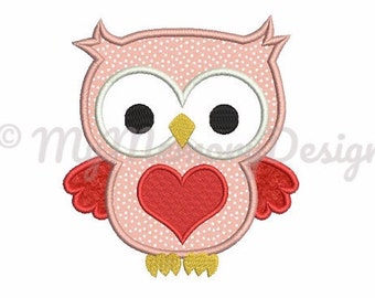 Owl with Heart Embroidery Design - Owl applique - Valentine embroidery - Machine embroidery design - Instant download - 3 size