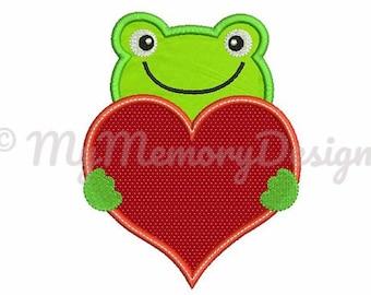 Valentine's Day Frog Applique Design - Heart embroidery - Valentine day embroidery design - Machine embroidery INSTANT DOWNLOAD 4x4 5x7 6x10