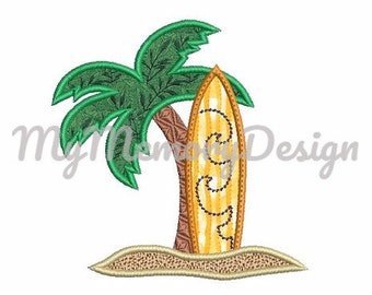 Summer applique design - Summer embroidery - Palm tree embroidery - Surfboard applique  - Machine embroidery - INSTANT DOWNLOAD - 3 SIZE