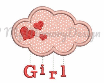 Baby girl applique design - Cloud embroidery - New baby embroidery - Baby Birth Design - Machine Embroidery - Instant download -  3 size