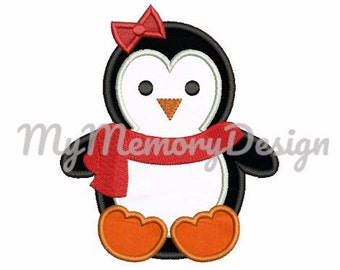Penguin applique design - Girl embroidery for christmas - Penguin embroidery pattern - Machine embroidery - INSTANT DOWNLOAD - 4x4 5x7 6x10