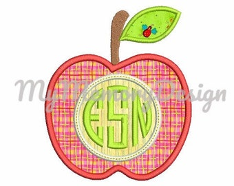 Apple embroidery design, Apple applique design, School embroidery, Kindergarten embroidery, Teacher, Monogram frame machine embroidery
