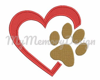 Paw with heart fill stitch embroidery machine design - Dog embroidery design - Machine embroidery - Digital file - INSTANT DOWNLOAD- 6 size