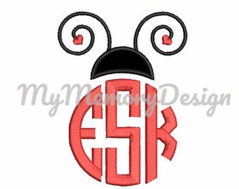 Ladybug embroidery design  - Lady bird monogram applique - Kindergarten embroidery design - Machine embroidery design - Instant download