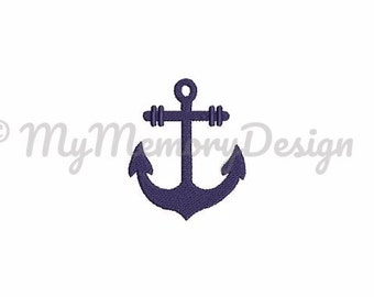 Anchor Embroidery Fill Stitch Mini Design - Nautical embroidery design - INSTANT DOWNLOAD - Machine embroidery design - 5 size