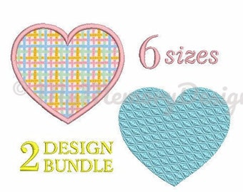 Heart Applique Design - Heart Embroidery Design - Machine Embroidery - Valentine's Day Embroidery - Heart fill stitch embroidery - 6 Size