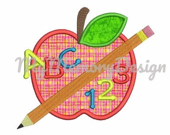 School embroidery design - Apple applique design - Apple embroidery - Children embroidery design - Machine embroidery - INSTANT DOWNLAD