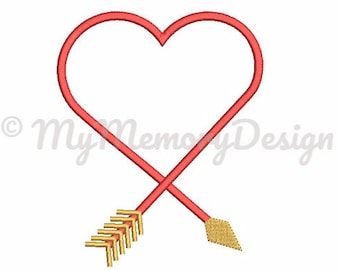 Arrow Heart Frame Embroidery Design - Valentine's Day Embroidery design - Machine embroidery INSTANT DOWNLOAD file - 3 SIZE