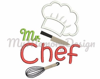 Mr. Chef cook hat embroidery boy saying design - Machine embroidery design - Instant download - 4x4 5x7 6x10 pes hus jef vip vp3 xxx dst exp