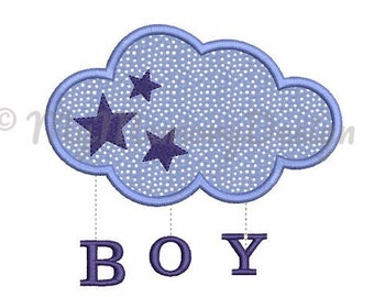 New baby embroidery design - Boy embroidery - Birth design Cloud applique - Machine embroidery pattern - Instant download  4x4 5x7 6x10 size