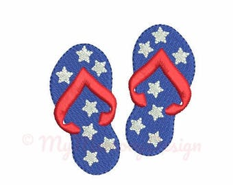 Summer embroidery design - Flip flops embroidery - Patriotic embroidery - 4th of july design - Machine embroidery Instant download - 5 size
