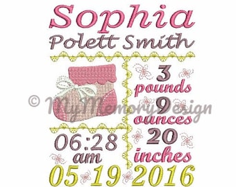 Baby embroidery birth announcement template machine embroidery design  - Baby bootee - Baby girl - Baby boy - INSTANT DOWNLOAD