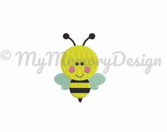 Bee embroidery design - Filled stitch bumble bee machine embroidery file - INSTANT DOWNLOAD - 4 size pes hus jef vip vp3 xxx dst exp format