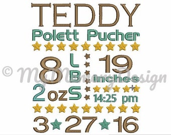 Birth Announcement Embroidery Design - Baby Boy Embroidery - Birth Stats Embroidery - Machine Embroidery Design - INSTANT DOWNLOAD - 3 sizes