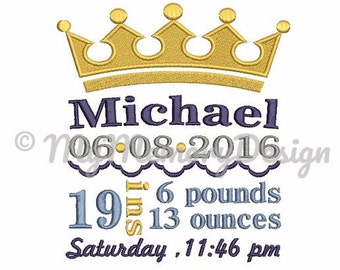 Boy embroidery design, Machine embroidery,Birth announcement embroidery design,  Birth template, Baby birth stats, INSTANT DOWNLOAD , 3 SIZE