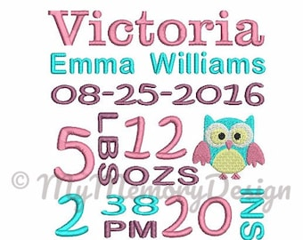 Owl birth subway art TEMPLATE baby birth  announcement machine embroidery pattern - INSTANT DOWNLOAD - jef - hus - vip - pes- xxx -dst-exp