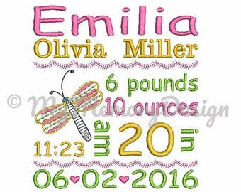Birth Template  Embroidery Design - Baby  Embroidery -   Birth Announcement Embroidery - subway embroidery pattern
